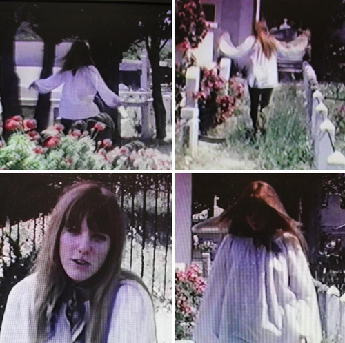 Pam filmed by Jim in 1971, Corsica cemetery